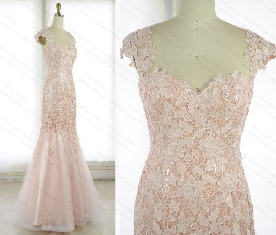 Lace Prom Dress Sequins Bridesmaid Dress Blush By