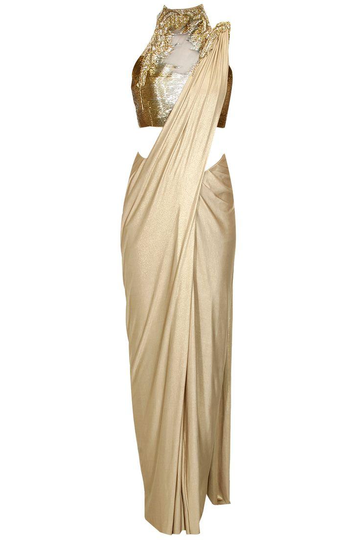 Gold shimmer pre stitched drape sari with embroidered blouse by Gaurav Gupta. Shop at: http://www.perniaspopupshop.com/designers/gaurav-gupta. #shopnow #perniaspopupshop #gauravgupta