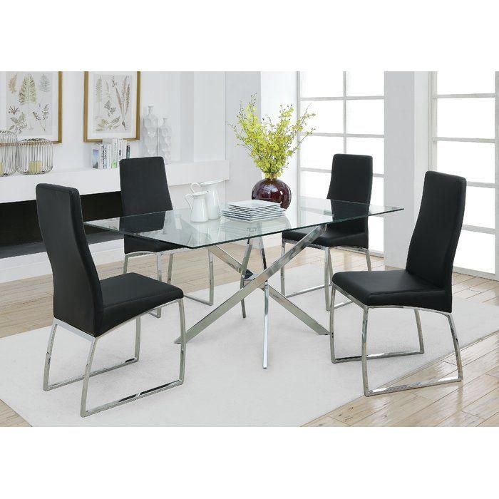 Orren Ellis Rosley Dining Table Reviews Wayfair Modern Glass Dining Room Glass Dining Table Decor Dining Table