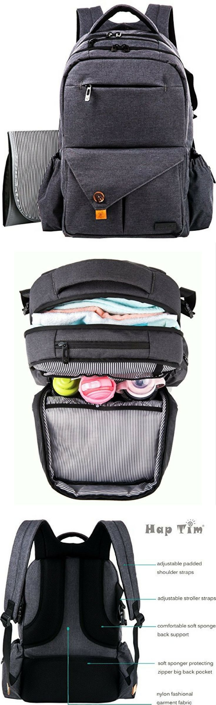 HapTim Multi-function Large Baby Diaper Bag Backpack W/Stroller Straps-Insulated Bottle Pockets-Changing Pad,Stylish & Durable with Anti-Water Material(Dark Gray-5284)  #Affiliate