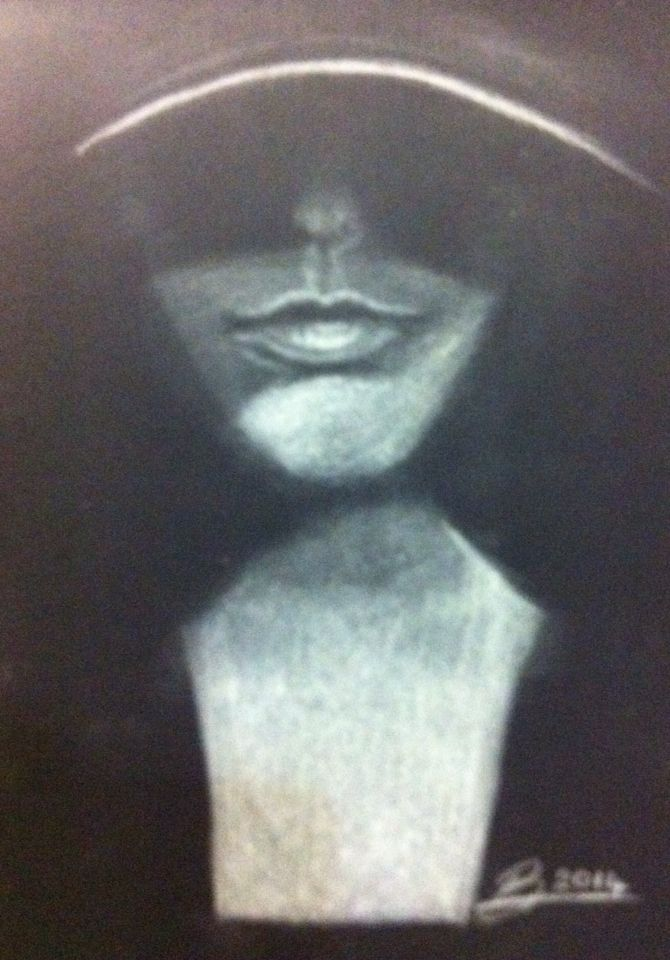 Woman with hat - White charcoal drawing (A5), November 2014.