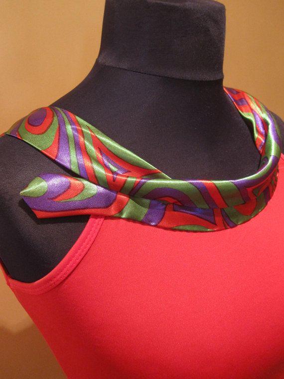 VERKOOP / voorzien stropdas Upcycled hemd in helder rood