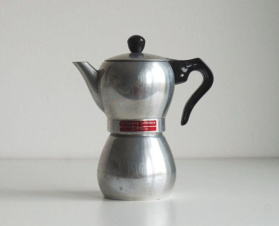 Large Vintage French Aluminium Coffee Pot with Green Wooden Handle Cafetiere