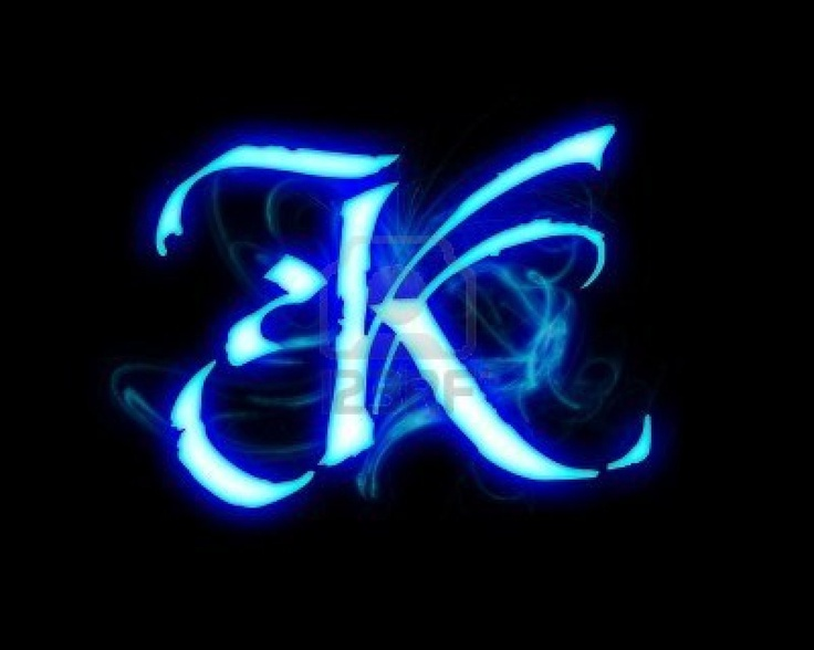 Blue Flame Magic Font Over Black Background. Letter K Stock Photo   4086125