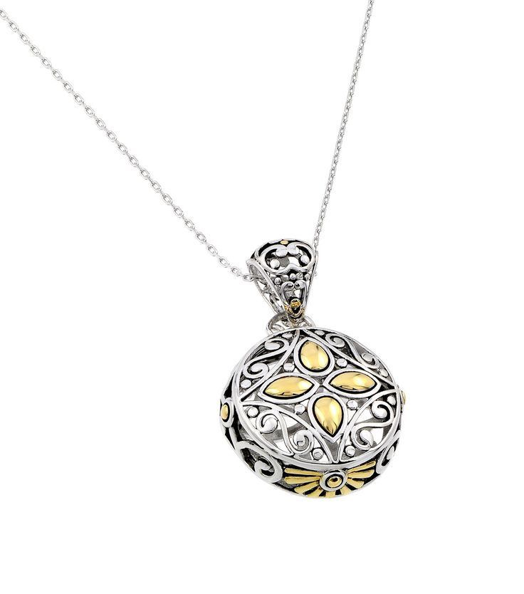 .925 Sterling Silver Gold & Rhodium Plated Round Center Yellow Flower Cubic Zirconia Necklace 18 Inches
