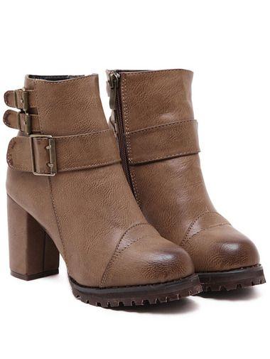 Buckle Strap Zipper PU Chunky Boots
