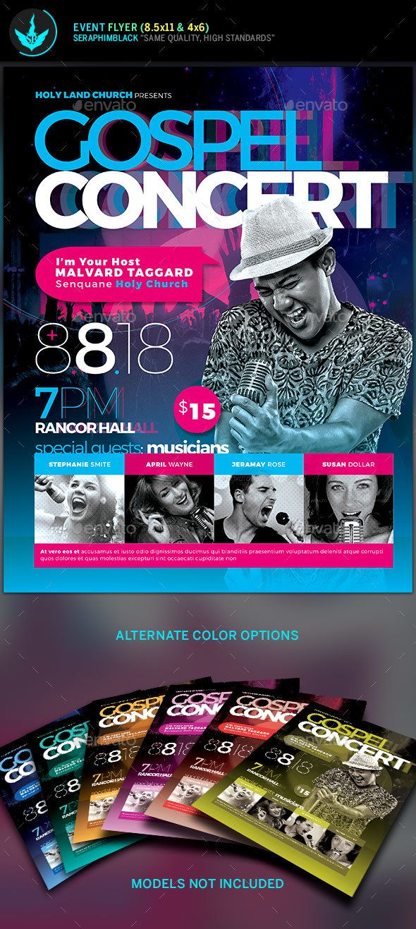 Cosmic Gospel Concert Flyer Template Need a modern design for your event? Then this flyer template might be what you are looking for. This Cosmic design comes with a beautiful color pallet that will draw attention, places for guest photos, and you can replace any elements with ease.