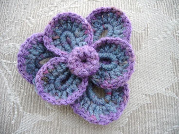 Crochet flower applique brooch  www.etsy.com/shop/CraftsbySigita