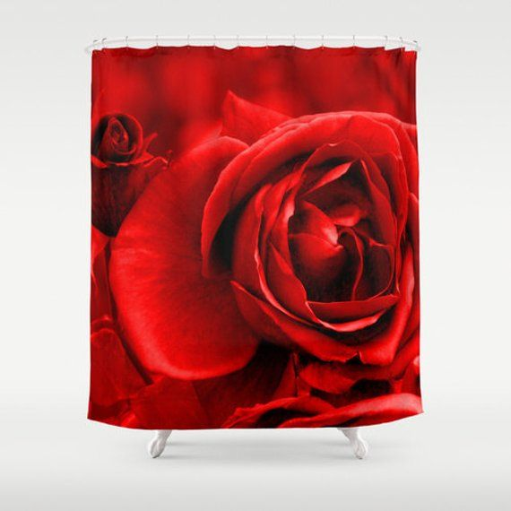 Red Rose Shower Curtain Washable Fabric Nature Home Decor Red