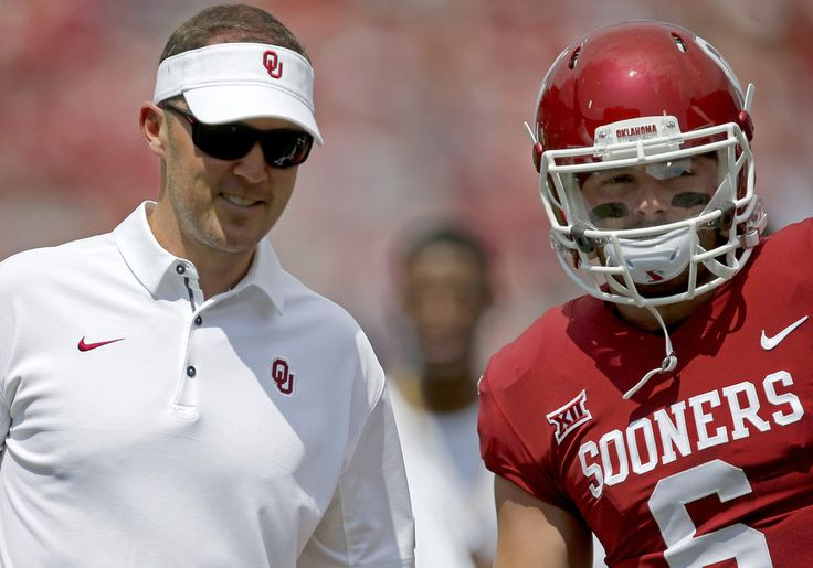 Oklahoma coach Lincoln Riley talks with Oklahoma's Baker Mayfield (6) before a college football game between the Oklahoma Sooners (OU) and the University of Texas at El Paso Miners (UTEP) at Gaylord Family-Oklahoma Memorial Stadium in Norman, Okla., Saturday, Sept. 2, 2017. Photo by Bryan Terry, The Oklahoman