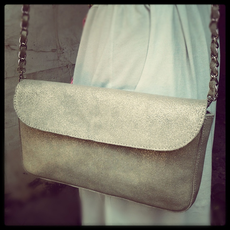 BECCA unique cow leather with detachable leather chain and zip pocket inside