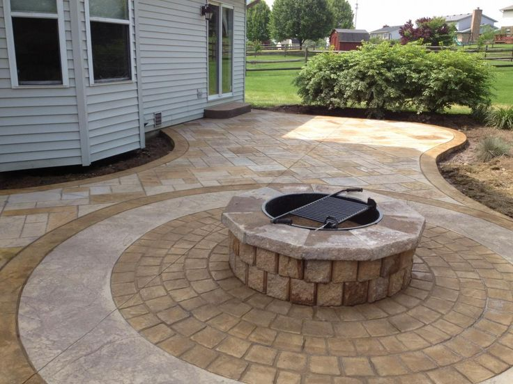 stamped concrete patio with fire pit - Concrete Design Ideas