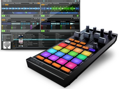 Native Instruments Traktor Kontrol F1. I use 1 of these too. It makes remixing a lot easier when playing live. :)