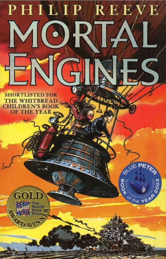 """Mortal engines"", by Philip Reeve - 'In the distant future, cities on wheels fight each other for survival. As London pursues a small town, young apprentice Tom is flung out into the watelands, where a terrifying cyborg begins to hunt him down."
