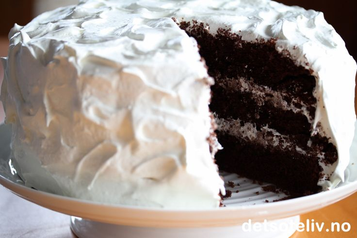 Devil's Food cake with seven minute frosting