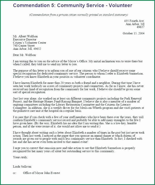 Community Service Recommendation Letter Luxury Munity Service Re