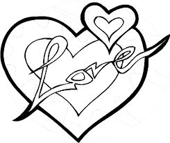 Love And Heart Coloring Page To Print Out