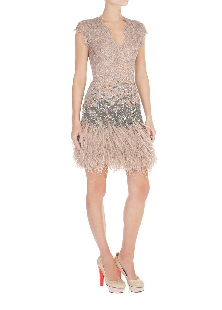 Winter Garden Couture Lace Fitted Dress |matthewwilliamson.com