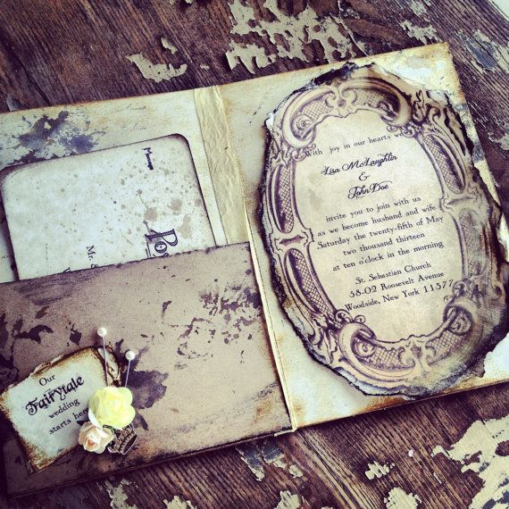 Pocketfold Invitations Fairytale Wedding Invitation Vintage Book invitations on Etsy, £9.35