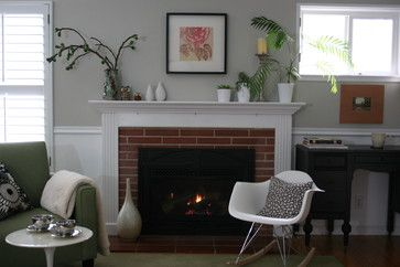 Picking the Perfect Gray Paint {Revere Pewter}—this shows it would look good with our brick fireplace