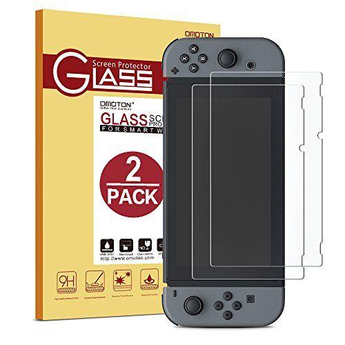 awesome  Nintendo Switch Protector de pantalla OMOTON,9H Dureza,Anti-aceite,Anti-arañazos,Sin Burbujas,Cristal Templado Nintendo Switch,Garantía de por Vida.