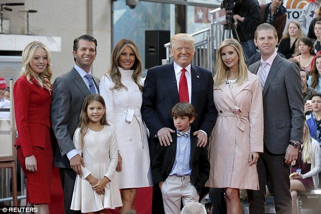 After the interview, Trump and his family posed for a picture. Back row, from left to right: Tiffany Trump, Donald Trump Jr, Melania Trump, Donald Trump, Ivanka Trump and Eric Trump. Front row from left to right, grandaughter Kai and grandson Donnie