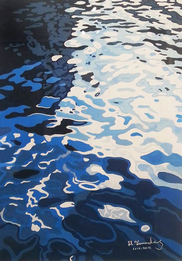 """The work of private exhibition """"MINAMO-water surface"""" which I held in Ebisu of Tokyo in September, 2015. America bridge gallery .https://www.facebook.com/AmericaBashiGallery"""