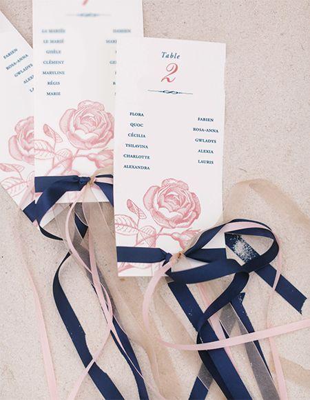 Plan de table mariage rose et bleu marine mariage aline - Deco bleu marine et blanc ...