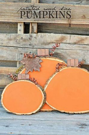 pumpkins from sliced tree logs