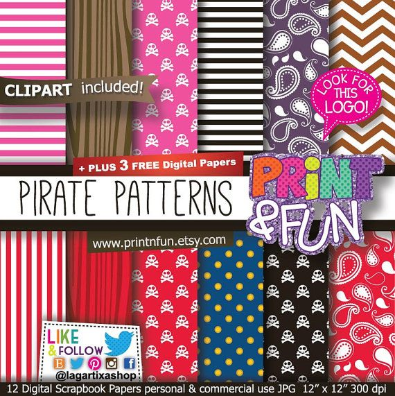 Pirates Digital Paper, Wood Patterns, Pirate Bandana Background, clip art, pirate kerchief, wood chevron party printables invitations