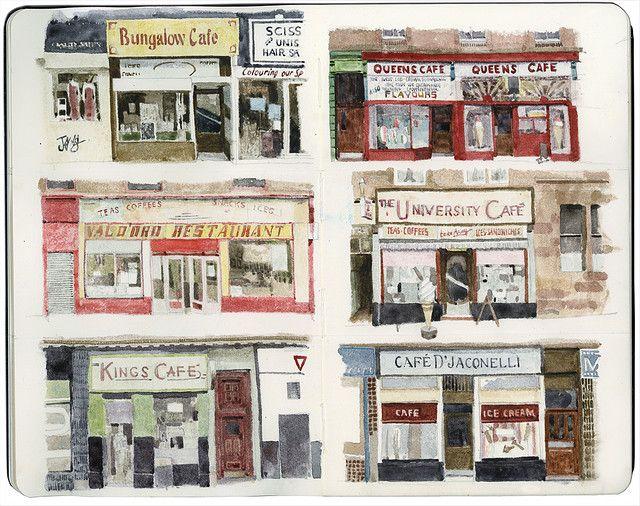 Glasgow Cafés. Sketch by Wil Freeborn.