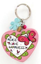 WOODEN KEYRING: PEACE. LOVE. HAPPINESS. Colorful inspirations to brighten your day!  Wooden keyrings (Heart).