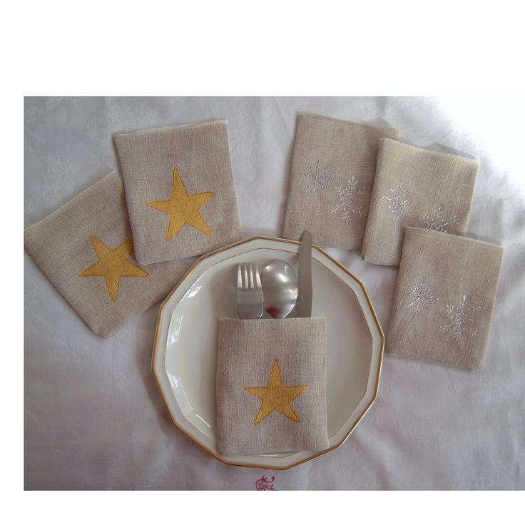 Pochettes à couverts - étoiles dorées et flocons argentés