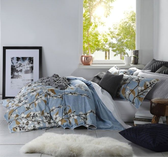 Kenzie Quilt Cover Set Range Blue | Manchester Warehouse