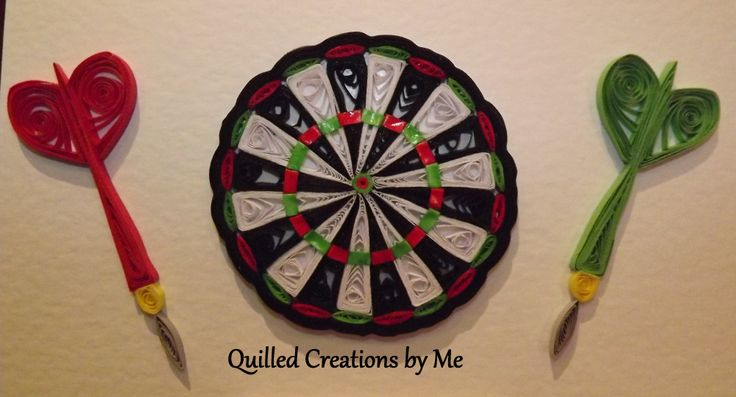 Quilled darts and dartboard made by Quilled Creations by Me
