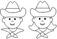 Cut and paste cowgirl or cowboy from Making Learning Fun.