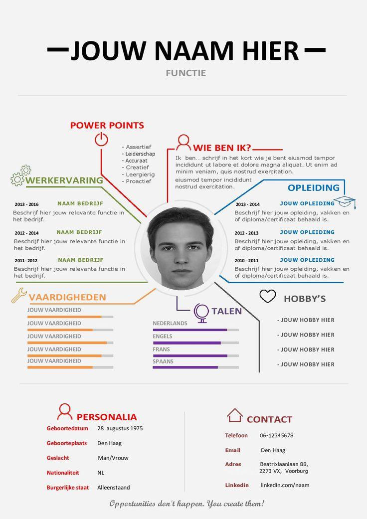 Een overzichtelijk en uniek CV waar jij duidelijk centraal staat.