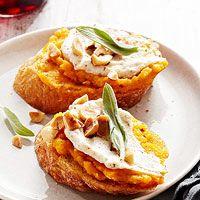 Butternut-Sage Crostini with Ricotta and Hazelnuts   Recipe