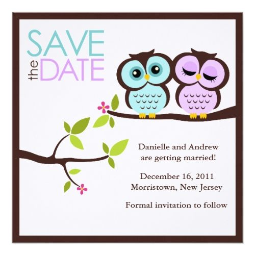 Love Birds Wedding Save the Date Lavender and Mint Owls Wedding Card
