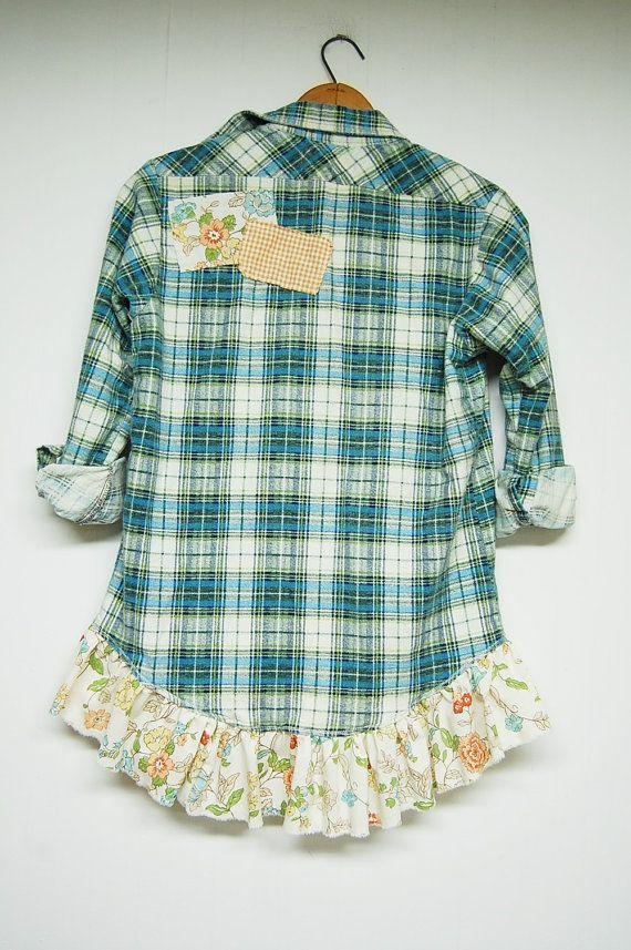 d2acbb7772b5f6 This plaid flannel shirt has been gussied up with a feminine ruffle at the  hem and tattered patches on front and back for a little bit of girly and a  little ...