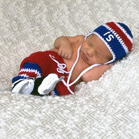 BABY HOCKEY BOYS Crocheted Red Royal Blue White by Grandmabilt
