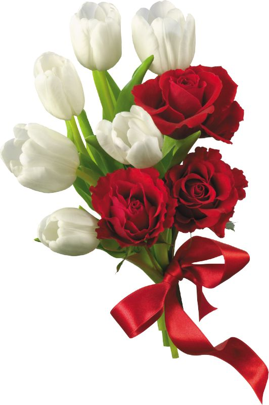 White Tulips and Red Roses Flower Bouquet PNG Clipart ...