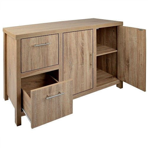 Wooden Chest of Drawers Bedroom Sideboard 2 Door 2 Drawer Storage Unit Cupboard  #Christow #Contemporary