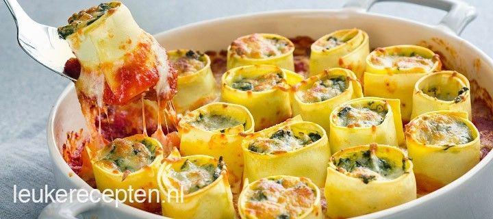 soort lasagne alleen dan in de vorm van rolletjes gevuld met spinazie, spekjes en geitenkaas