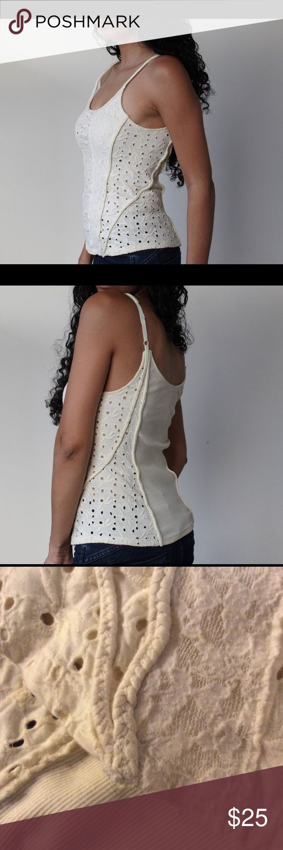 Free People Cream Spaghetti Top w/Lace & Braiding Free People Cream Spaghetti Top w/Lace & Braiding. Top is darker and more cream colored than photos. Gently used. Free People Tops Tank Tops