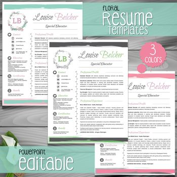 *** 3 *** VERSIONS OF FLORAL Teacher Resume Template | Teacher CV Template + Cover and Reference Letters for MS Power Point   → FULLY EDITABLE (headers, lines, and icons) with PowerPoint
