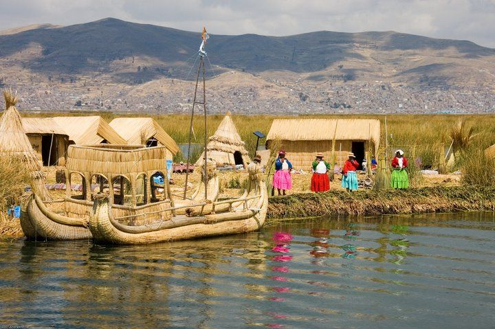 They're so nice, and make the boats and houses out of the grasses around them. Some of their boats even have an upper level. Lake titcaca - the floating people
