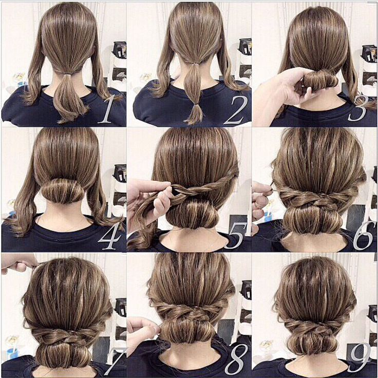 Very pretty hair idea with three sections twisting the sides and a bun