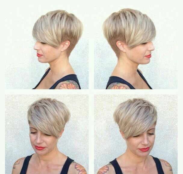 Undercut with longer bangs. So cute!