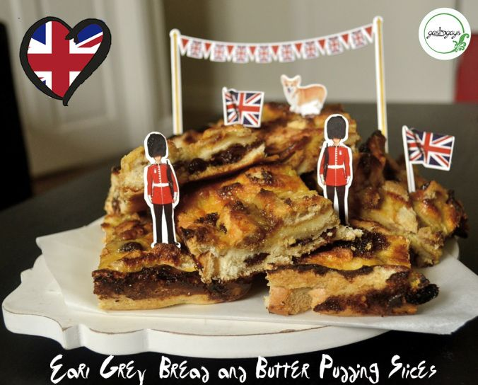 bread and butter slices, earl grey custard, bread pudding, UK characters, british recipe, eurovision food, eurovision party, european cuisine